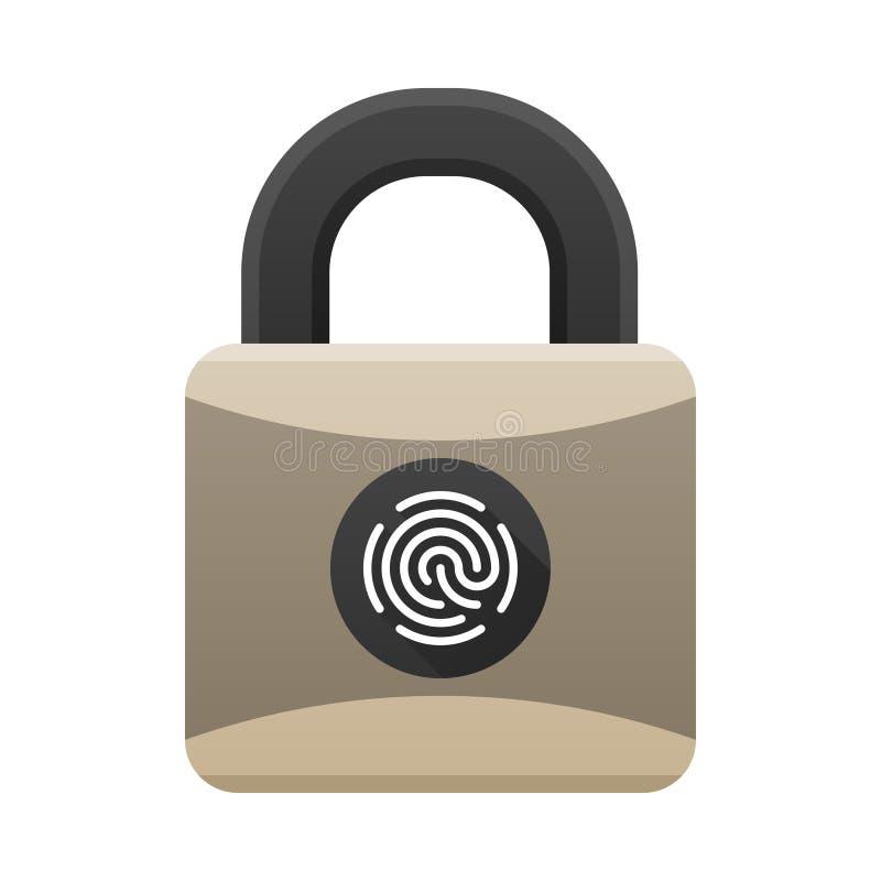 Icône de cadenas avec la protection biométrique avec l'accès d'empreinte digitale Cadenas avec le lecteur d'empreintes digitales  illustration libre de droits