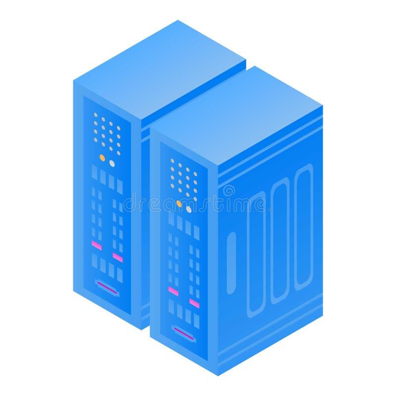 Icône de caisse de serveur, style isométrique illustration de vecteur