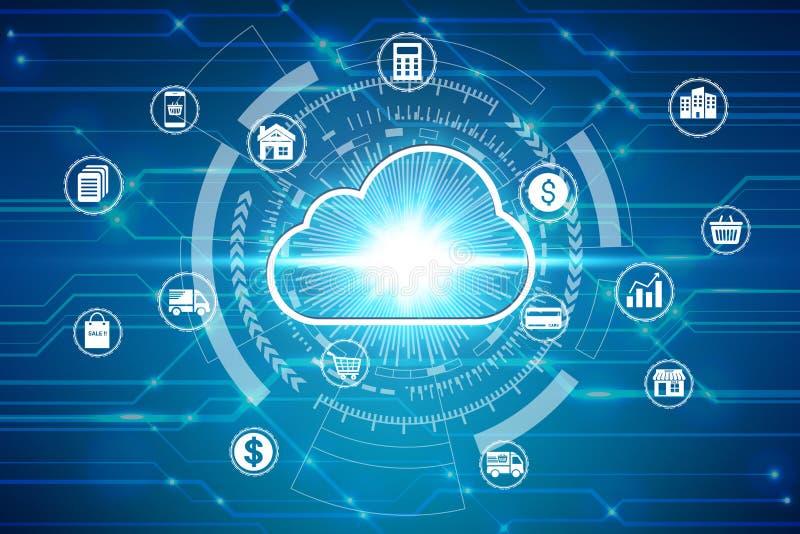 Icône de calcul de nuage au-dessus de la connexion réseau, concept d'intimité de technologie d'affaires de protection des données illustration stock