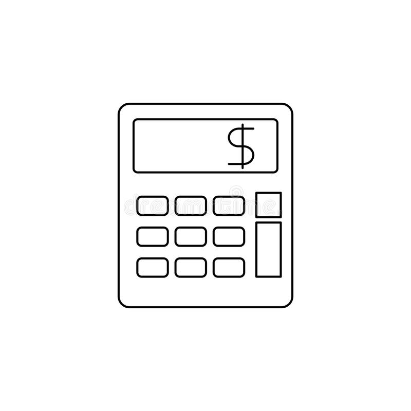 Icône de calculatrice Élément d'icône d'opérations bancaires pour les apps mobiles de concept et de Web Ligne mince icône pour la illustration de vecteur