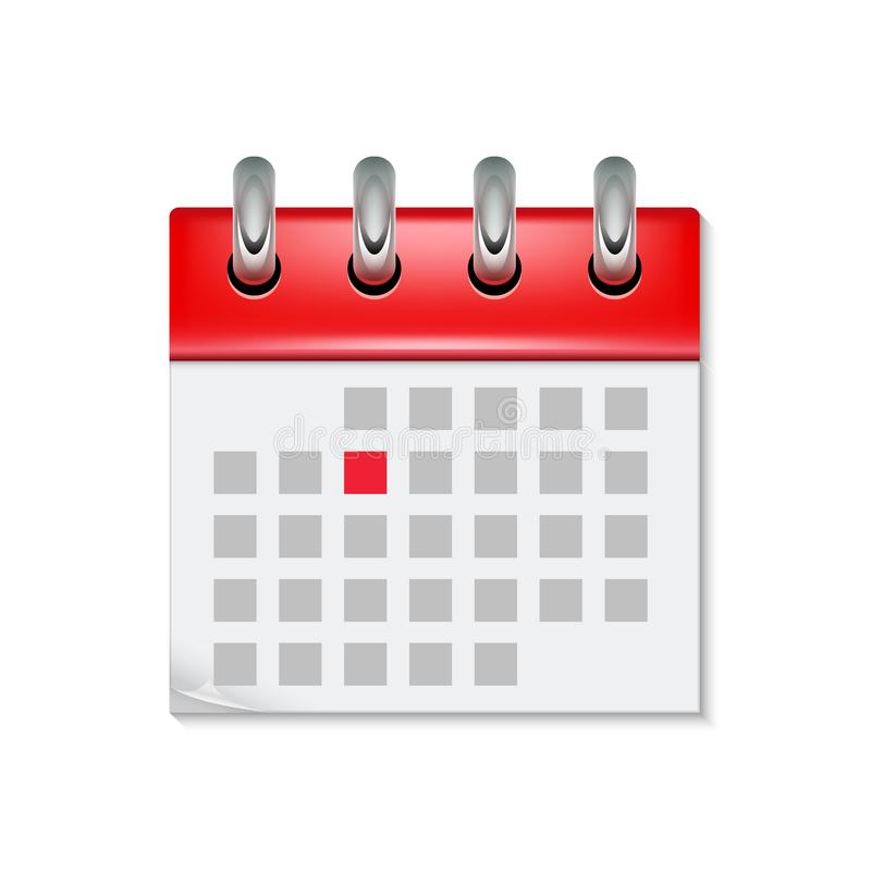 Icône de calendrier avec le symbole de temps de mois Bouton plat de conception de calendrier d'événement de rappel de jour d'ordr illustration libre de droits