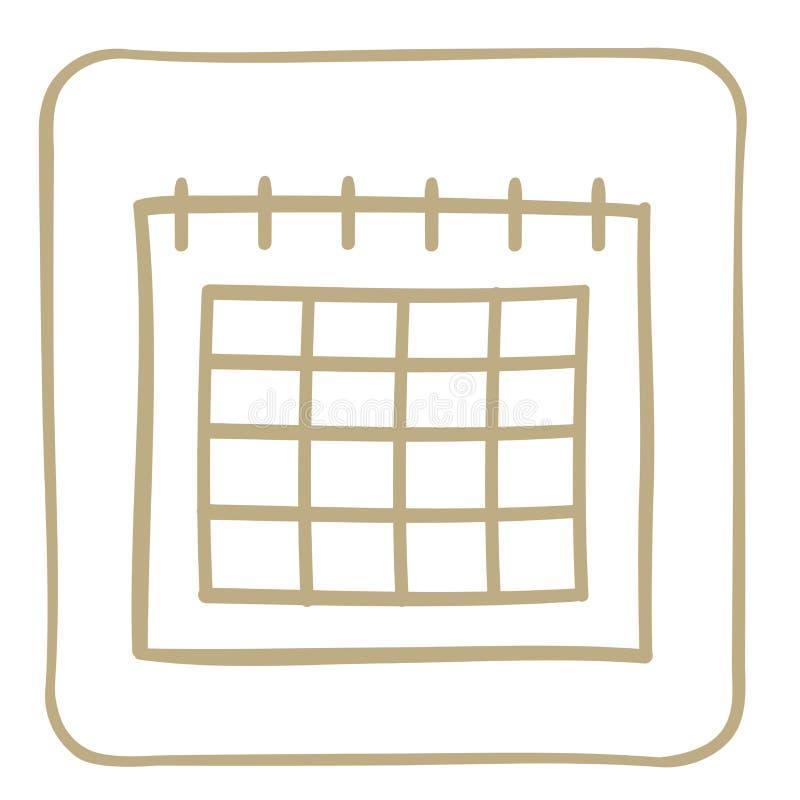 icône de calendrier dans le cadre brun clair Dessins de vecteur illustration libre de droits