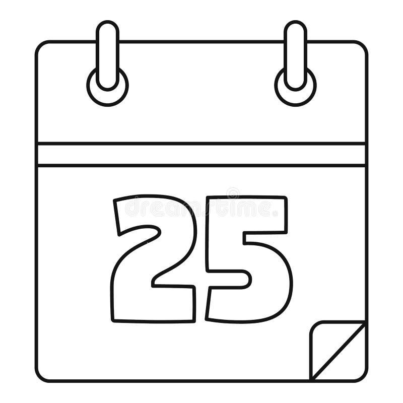 Icône de calendrier de date de Noël, style d'ensemble illustration de vecteur