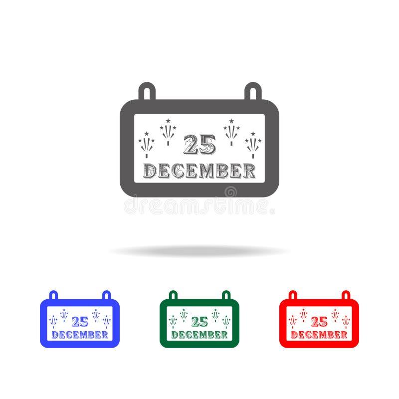 Icône de calendrier de Noël Éléments des vacances de Noël dans les icônes colorées multi Icône de la meilleure qualité de concept illustration de vecteur