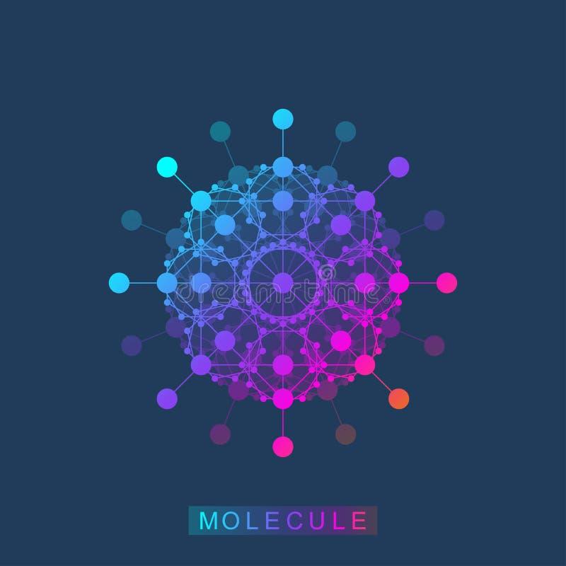 Icône de calibre de logo de molécule, logotype de la génétique de la science, hélice d'ADN Analyse génétique, ADN biotechnologiqu illustration stock