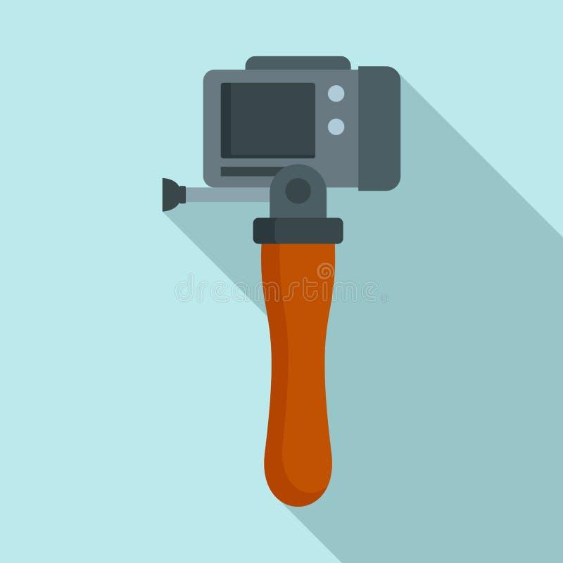 Icône de caméra de bâton de main, style plat illustration libre de droits