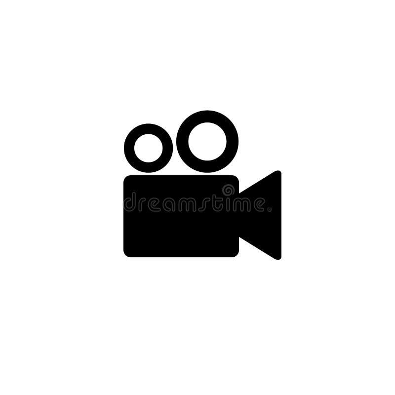 Icône de caméra vidéo, film, film, signe d'image d'isolement sur le fond blanc illustration libre de droits