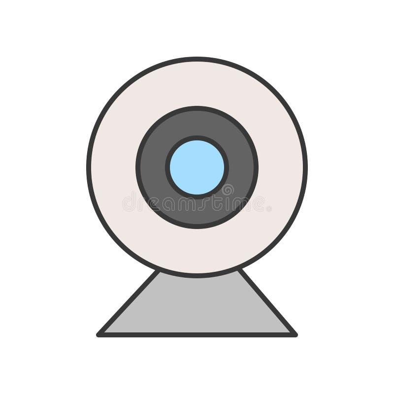 Icône de caméra web, course editable parfaite de pixel de pictogramme illustration stock