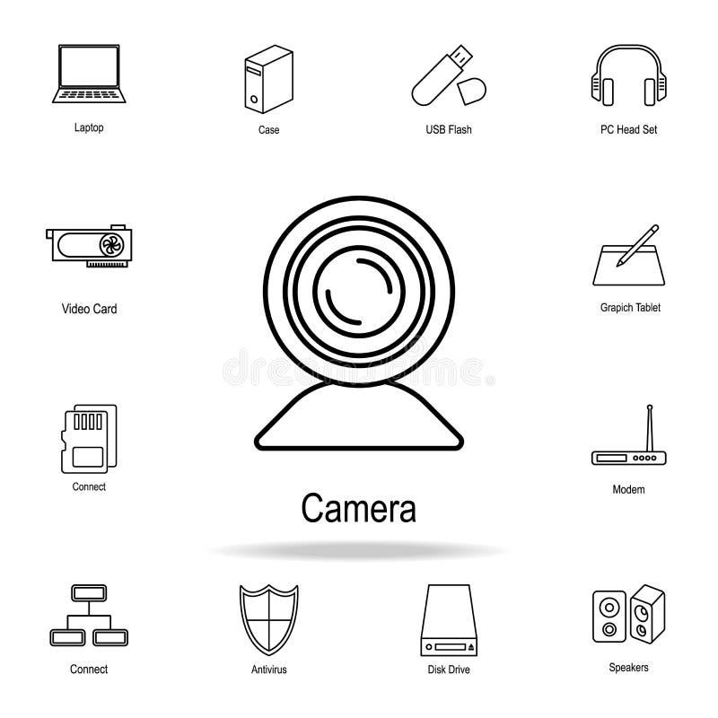 Icône de caméra web Ensemble détaillé d'icônes de pièce d'ordinateur Conception graphique de la meilleure qualité Une des icônes  illustration libre de droits