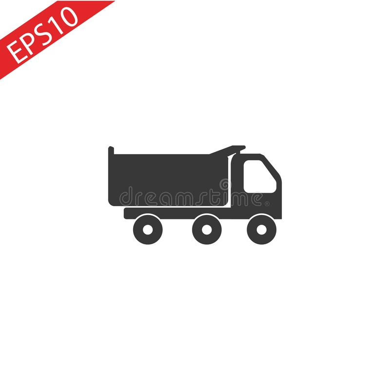 Icône de camion à benne basculante, symbole de camion-, illustration d'isolement de vecteur illustration stock