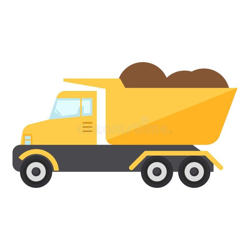 Icône de camion de construction, style plat photographie stock