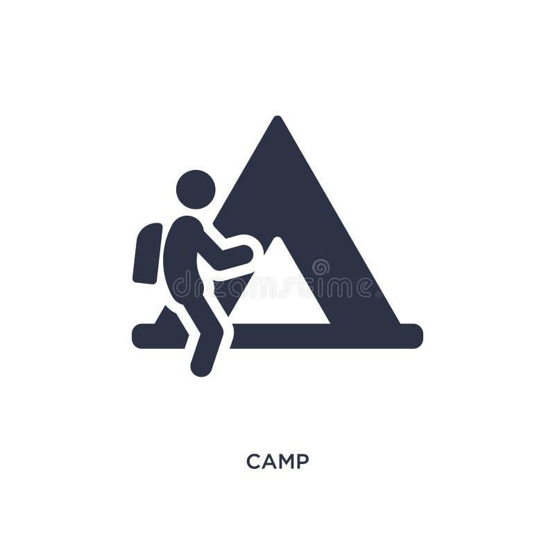 icône de camp sur le fond blanc Illustration simple d'élément de concept d'activités en plein air illustration stock