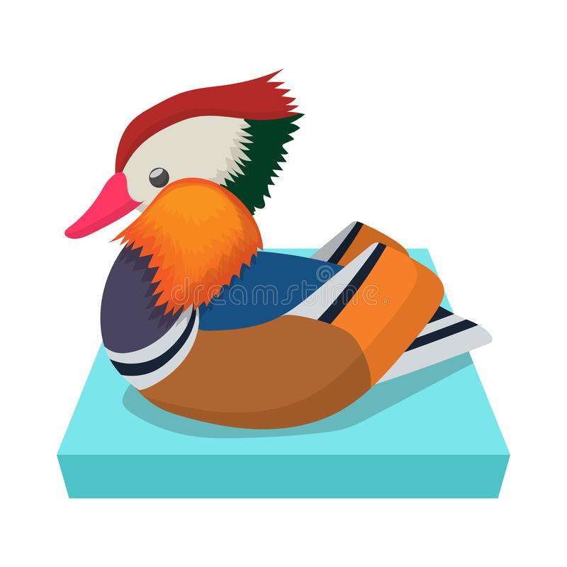 Icône de canard de mandarine, style de bande dessinée illustration stock