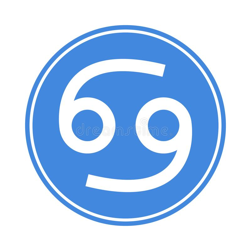 Icône de Cancer Vecteur astrologique, signe d'horoscope Symbole de zodiaque Élément de l'eau collant Illustration de vecteur d'is illustration libre de droits