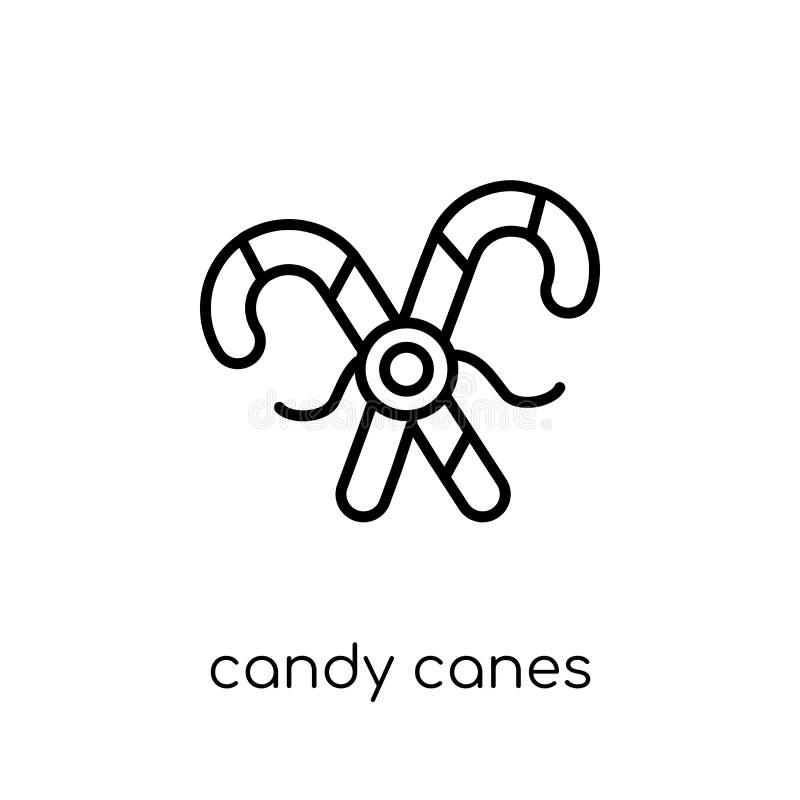 Icône de cannes de sucrerie de collection de Noël illustration de vecteur