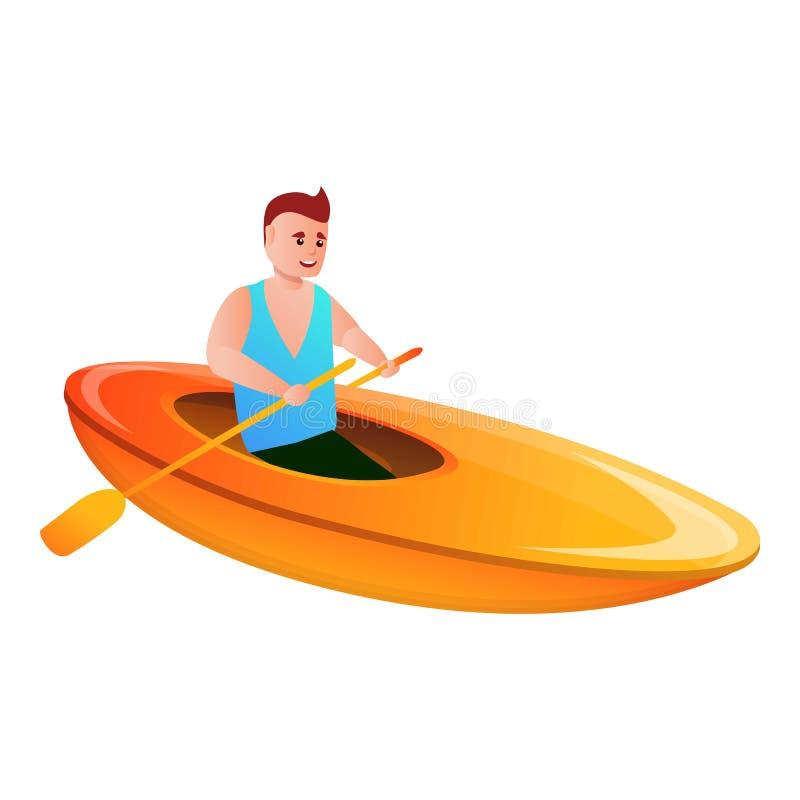 Icône de canoë-kayak d'homme, style de bande dessinée illustration libre de droits