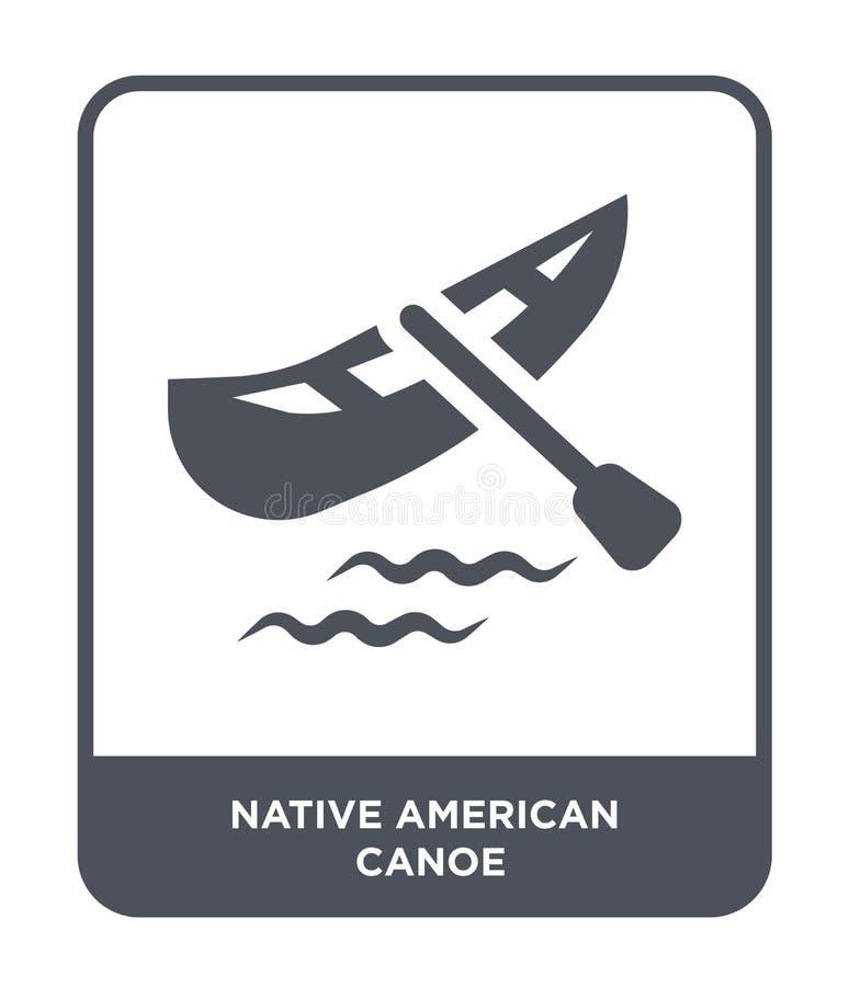 icône de canoë de natif américain dans le style à la mode de conception icône de canoë de natif américain d'isolement sur le fond illustration stock