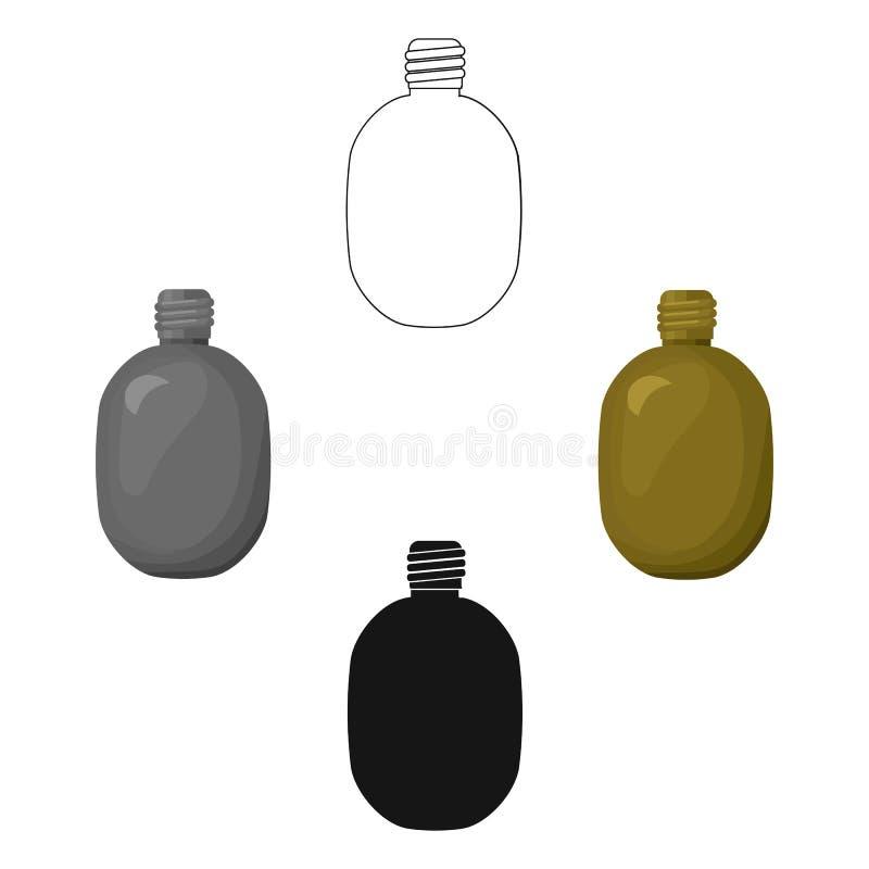 Icône de cantine d'armée dans la bande dessinée, style noir d'isolement sur le fond blanc Militaires et vecteur d'actions de symb illustration de vecteur