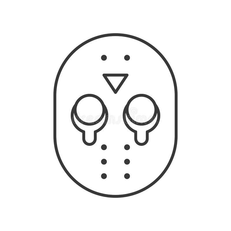 Icône de caractère de Halloween, masque Jason, course editable de meurtrier illustration libre de droits