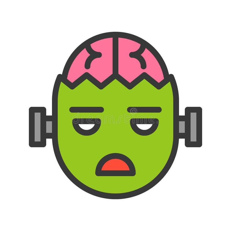 Icône de caractère de Halloween, zombi avec le cerveau, course editable illustration stock