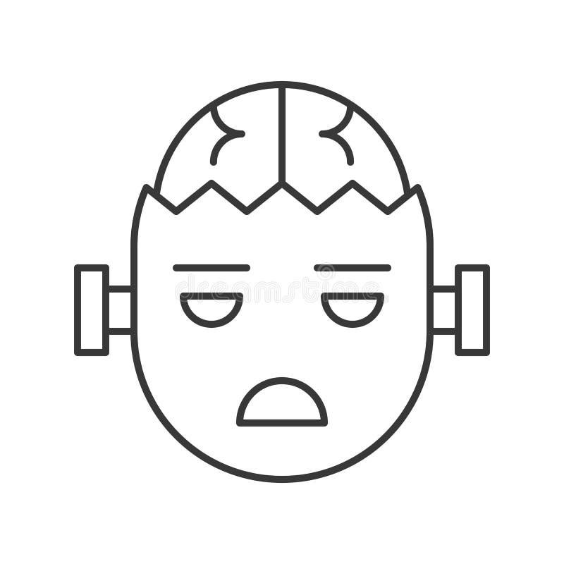 Icône de caractère de Halloween, zombi avec le cerveau, course editable illustration de vecteur