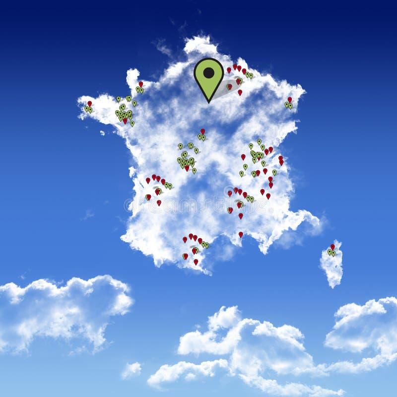 Icône de carte de ciel de Frances dans le ciel bleu illustration de vecteur