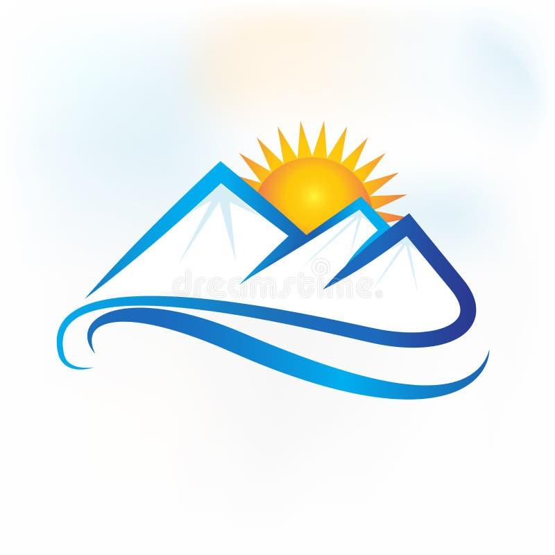 Icône de carte d'identification d'affaires d'identité de vecteur de logotype d'icône de montagnes de logo illustration libre de droits