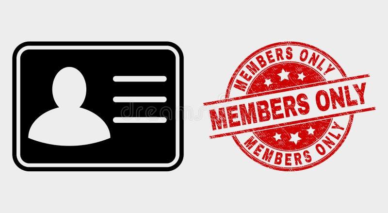 Icône de carte d'utilisateur de vecteur et filigrane de membres de détresse seulement illustration stock