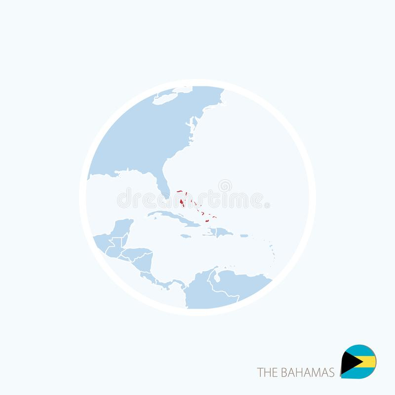 Icône de carte des Bahamas Carte bleue des Caraïbe avec accentué les Bahamas dans la couleur rouge illustration de vecteur