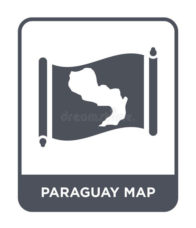 icône de carte du Paraguay dans le style à la mode de conception icône de carte du Paraguay d'isolement sur le fond blanc icône d illustration stock