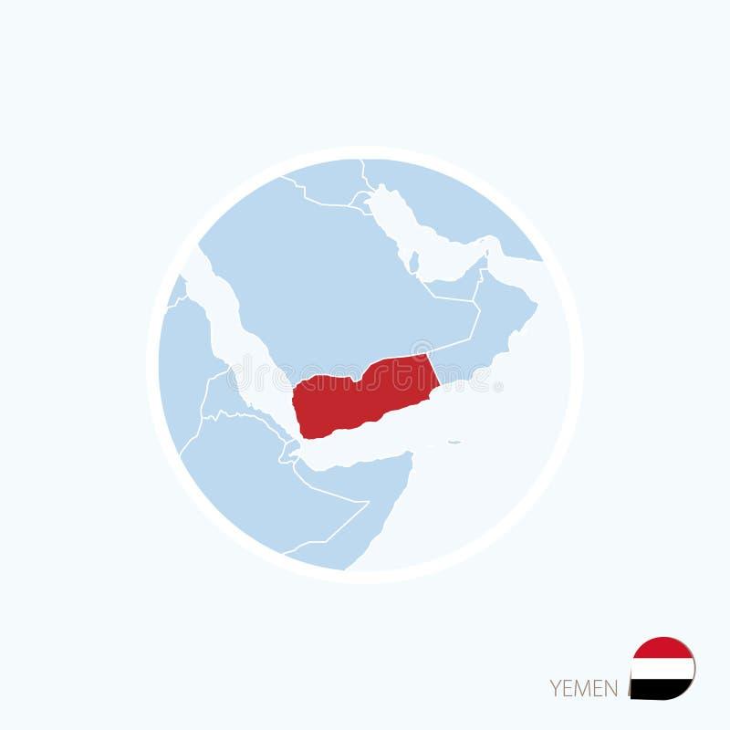 Icône de carte du Yémen Carte bleue de Moyen-Orient avec le Yémen accentué dans la couleur rouge illustration libre de droits