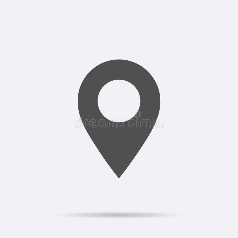 Icône de carte de goupille de généralistes d'isolement Symbole plat de la navigation APP de vecteur Signe plat simple moderne d'e illustration stock
