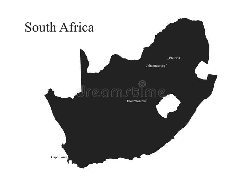 Icône de carte de la république sud-africaine image d'isolement de silhouette de vecteur de pays africain illustration stock