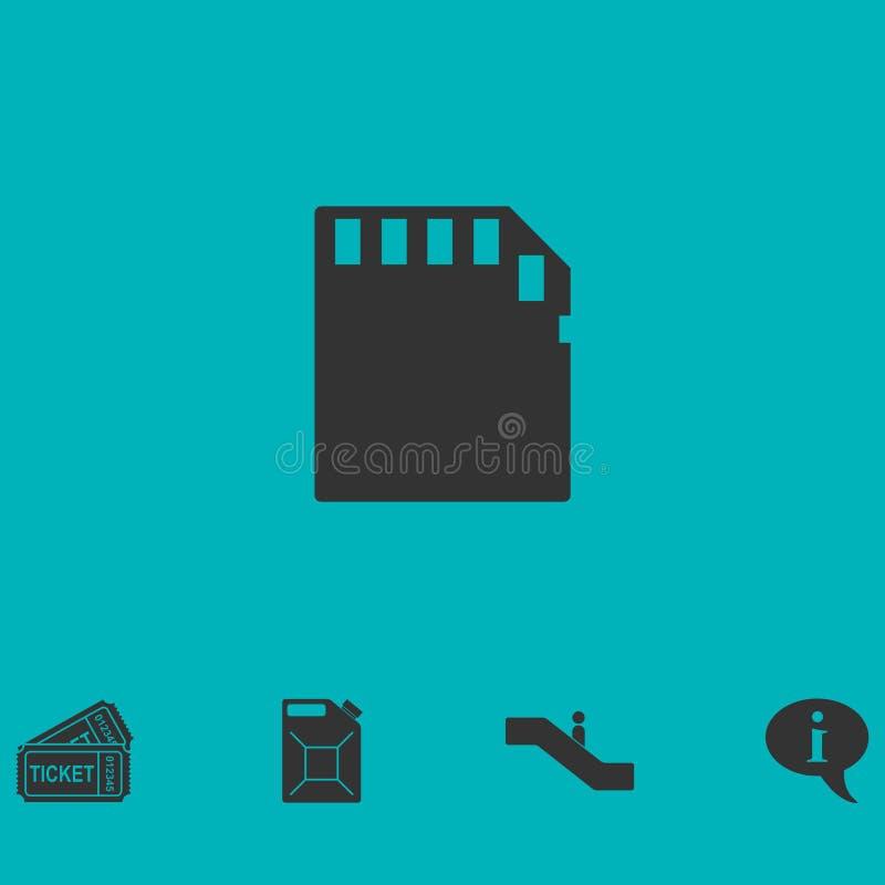 Icône de carte de mémoire à plat illustration stock
