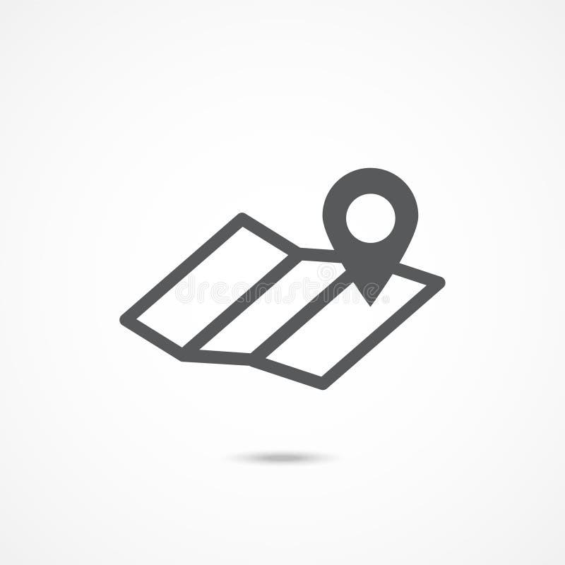 Icône de carte sur le blanc illustration de vecteur