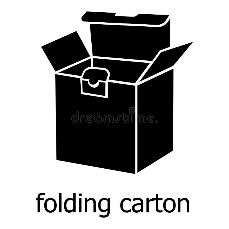 Icône de carton de pliage, style noir simple illustration de vecteur