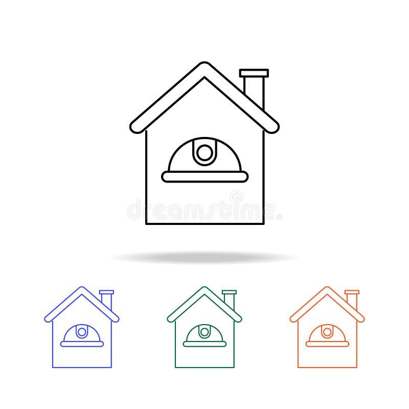 icône de casque et de maison Éléments des immobiliers dans les icônes colorées multi Icône de la meilleure qualité de conception  illustration stock