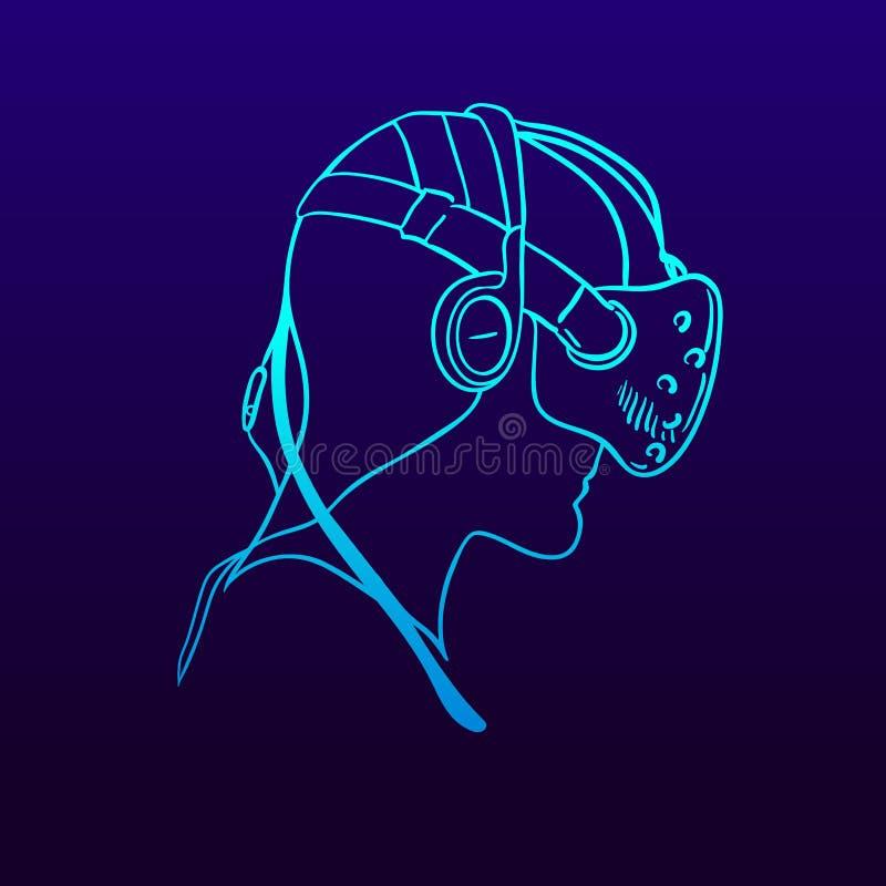 Icône de casque de réalité virtuelle Dirigez une ligne pictogramme simple illustration stock