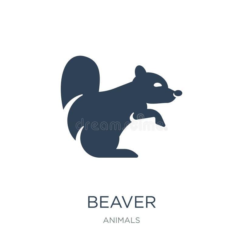 icône de castor dans le style à la mode de conception icône de castor d'isolement sur le fond blanc symbole plat simple et modern illustration de vecteur