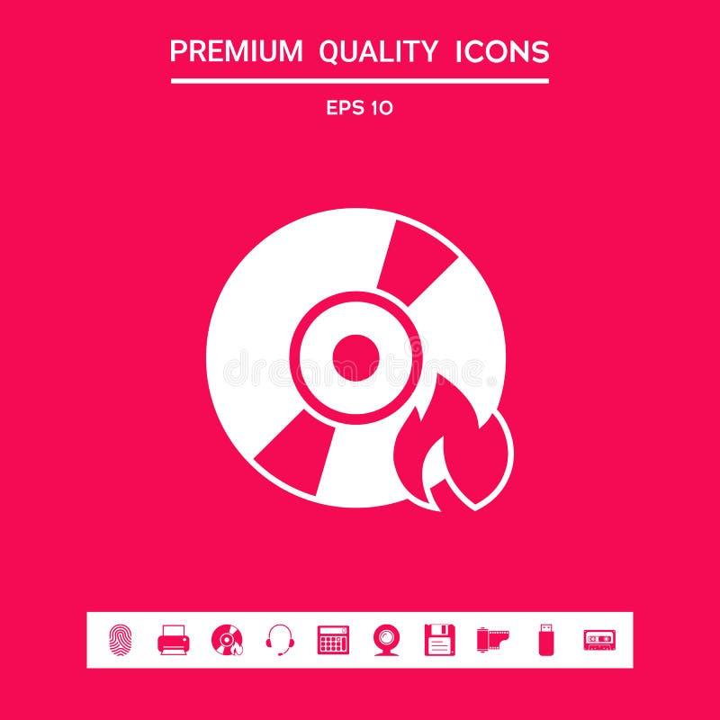 Icône de CD ou de DVD de brûlure Éléments graphiques pour votre conception illustration stock
