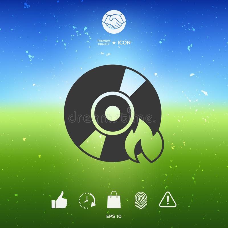 Icône de CD ou de DVD de brûlure illustration libre de droits
