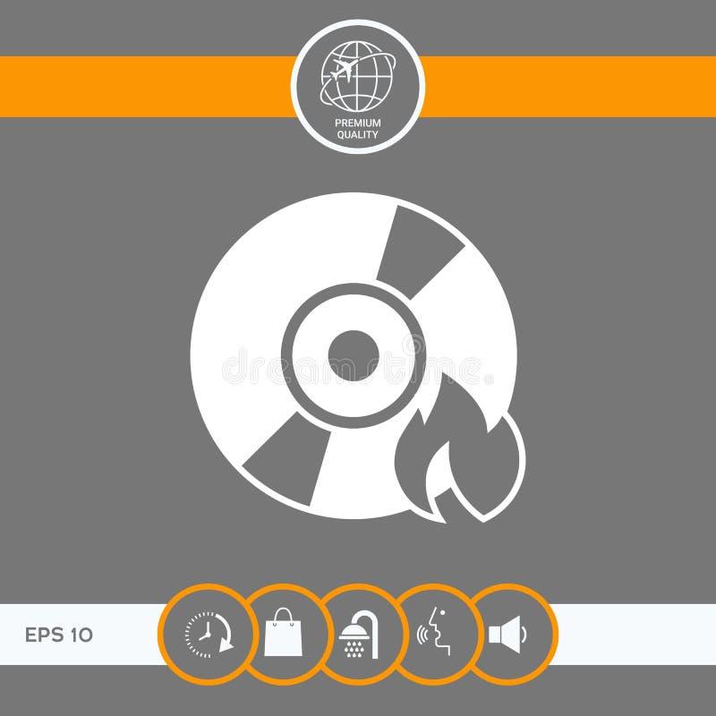 Icône de CD ou de DVD de brûlure illustration de vecteur