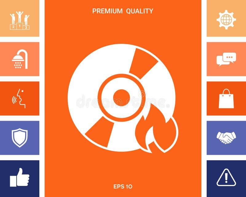 Icône de CD ou de DVD de brûlure illustration stock
