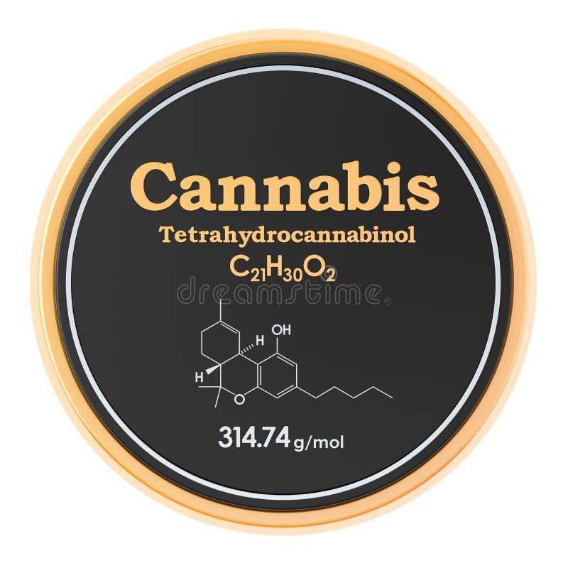 Icône de cercle de cannabis, de marijuana ou de tetrahydrocannabinol, rendu 3D illustration de vecteur