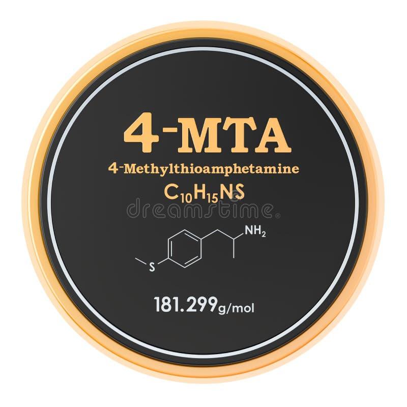 icône de cercle de 4-Methylthioamphetamine 4-MTA, rendu 3D d'isolement sur le fond blanc illustration stock