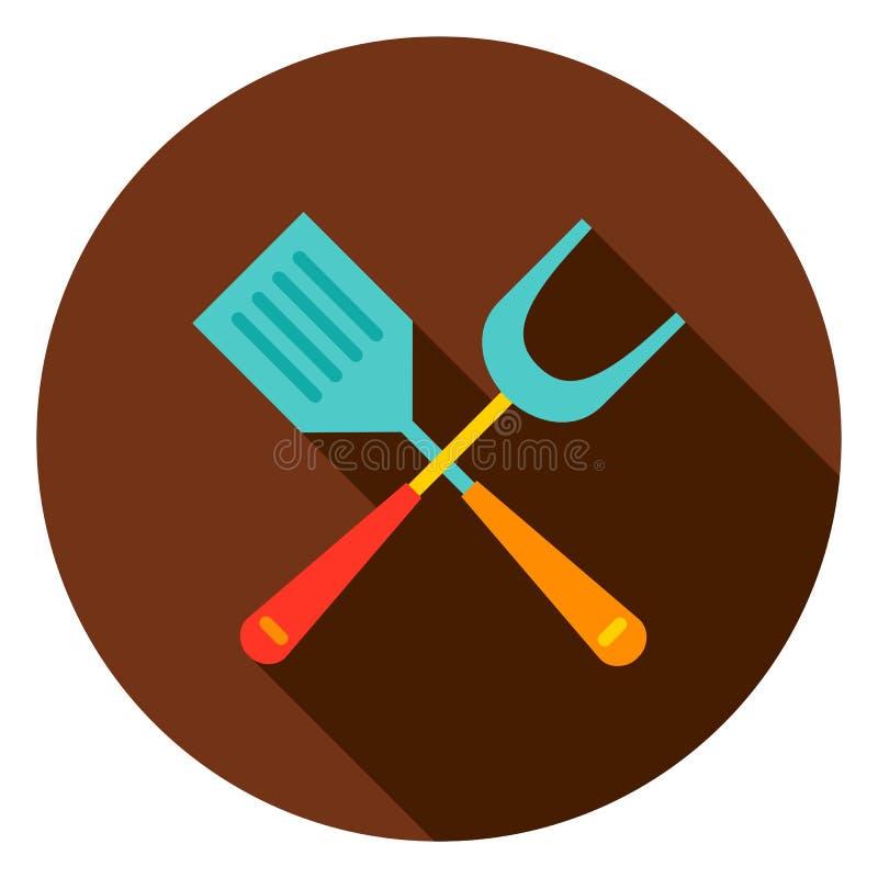 Icône de cercle de spatule de gril illustration libre de droits