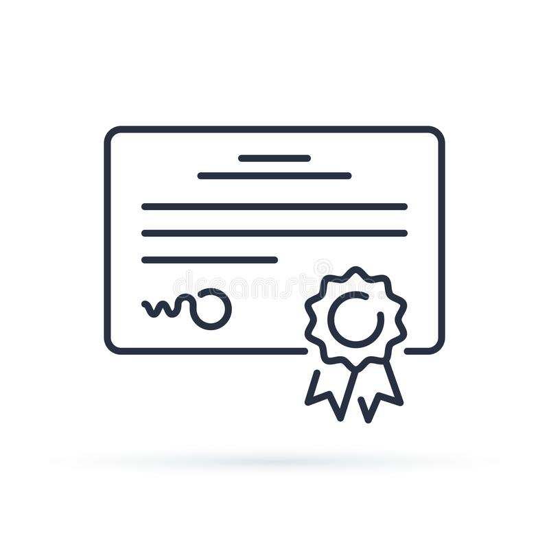 Icône de certificat de vecteur Concession d'accomplissement ou de récompense, concepts de diplôme Éléments de la meilleure qualit illustration stock