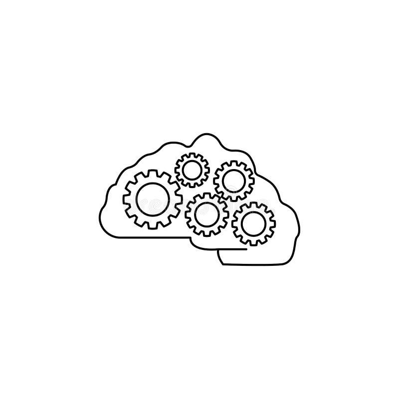 Icône de cerveau et de vitesses Élément d'idée et de solutions pour les apps mobiles de concept et de Web Ligne mince icône pour  illustration de vecteur