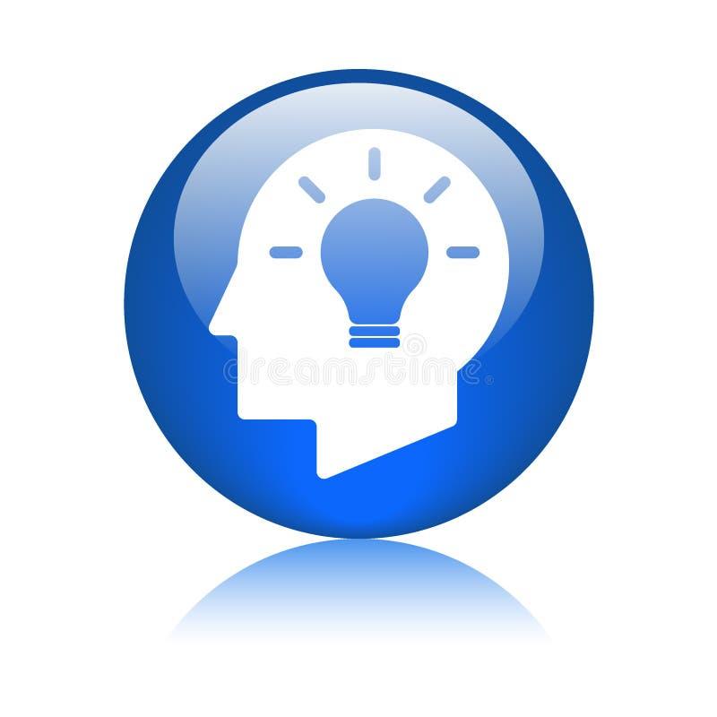 Icône de cerveau de tête d'ampoule d'idée illustration stock