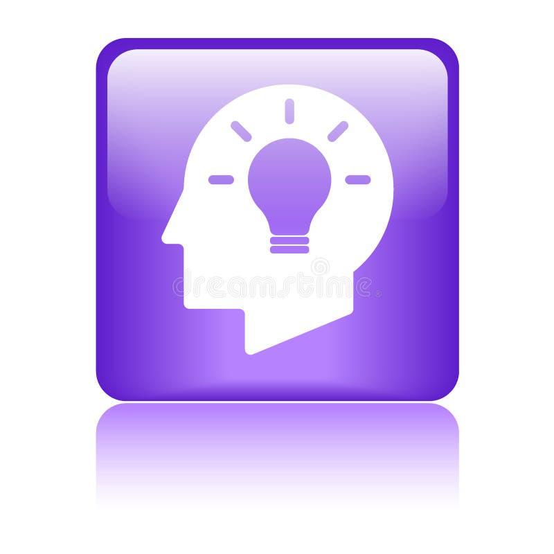 Icône de cerveau de tête d'ampoule d'idée illustration de vecteur